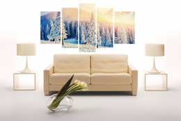 Wholesale Canvas Scrolls - 5 pieces (no frame) snow modern home decor canvas wall art hd picture printed on the canvas painting the living room