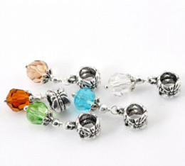 Wholesale Cheap Spiked Jewelry - 50 Mixed Crystal Dangling Beads Fit Charm Bracelet 27x8mmFine Jewelry Findings Diy Accessories Beads Cheap Beads