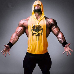 Wholesale Yellow Muscle Shirt - 2016 Mens Brand Hot Men Gym Clothing Bodybuilding Stringer Hoodie Tank Top Muscle hooded Shirt