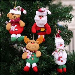 Wholesale Cute Bear Fabric - Christmas Decoration Pendants Xmas Tree Hanging Ornaments Snowman Deer Bear Cute Doll Santa Claus For Home Party Decor YYA668