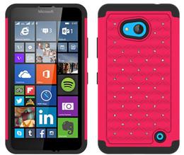Wholesale Lumia Bling - For Microsoft Lumia 950XL 850 Lumia 650 550 535 435 Back Cover High Quality Bling Diamond Rhinestone Case Hybrid Rugged Defender Armor Cases