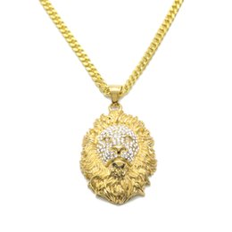 Wholesale Crystal Lion Head Necklace - New Style Hip Hop Stainless Steel Lion Head Pendant Necklace Mens Iced Out Crystal Bling Charms With 27.5'' Cuban Chain