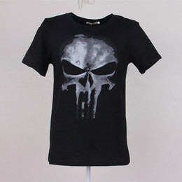 Wholesale Style For Men Tees - Cool Style THE PUNISHER Skull T Shirt The Punisher Black Short Sleeve T-shirt Men Clothing Top Tees For Summer