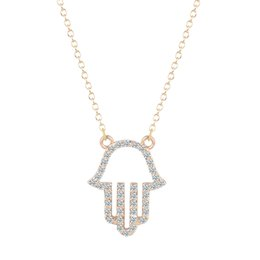 Wholesale Necklace Fatima Hamsa - 10pcs lot New Hand of Fatima Hamsa Friendship Crystal Pendant Necklaces Women Punk Brand Jewelry Birthday Gift for Girls Bijoux