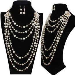 Wholesale Multi Layer Long Necklaces - Elegant high quality man-made pearl long necklace multi-layer necklace female accessories for bride fashion