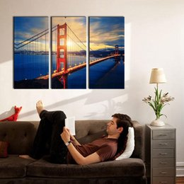 Wholesale Golden Gate Bridge Painting - 3 Picture Combination Wall Art For Home Decoration Golden Gate Bridge At Sunrise San Francisco Cityscape Bridge Landscape Decor