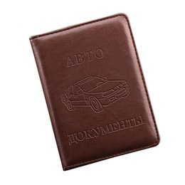 Wholesale Car Documents Holder - Wholesale- Russian Driver's License PU Leather Cover for Car Driving Documents Business Card Holder ID Card Holder -- BIH004 PM15