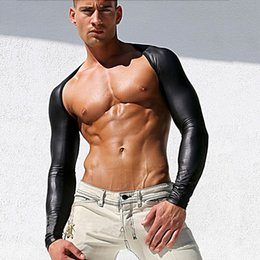 Wholesale Lingerie Leotards - 2016 Fashion Men Black Sexy Leather Fishnet Mesh Long Sleeve Clothes Hollow Out Tops Lingerie Exotic Breathable Gay Male Leotard Size S M L