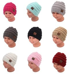 Wholesale Yarn Hat For Baby Girl - New Kids Winter Keep Warm CC Beanie Labeling Hats Wool Knit Skull Designer Hat Outdoor Sports Caps For Baby Children Kid 2018 Fashion