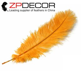 Wholesale Cheap Decorations For Christmas - ZPDECOR Factory Exporting Smooth and Fluffy 50-55cm(20-22inch) Dyed Cheap Gold Ostrich Feathers for Crafts decoration