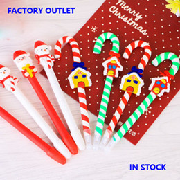 Wholesale Christmas Ball Pens - 2016 New Christmas Pens Cute Santa Claus Snowman Snowhouse Crutch Pens Christmas Decorations Ball Pens Gift