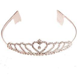 Wholesale Wholesale Little Girls Tiaras - 13*3.5CM Little Girls Heart Crown With Diamonds Headband Tiara Hair Sticks Children Wedding Party Silvery Tiaras Accessories 1#