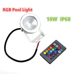 Wholesale Underwater Fountain Changing Lights - 10W 12V Underwater RGB Led Light Waterproof IP68 Fountain Swimming Pool Lamp Lights 16 Color Change with Remote Controller
