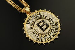 Wholesale 24k White Gold Men Chains - Black Wall Street High Quality 24K Gold Silver Plated Necklace B Letter Hip Hop Round Big Necklace for Rapper Men Fashion Jewelry