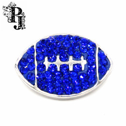Wholesale Crystal Football Charms - 12pcs lots Royal Blue Rhinestone Crystal Rugby Football Snap Button Charm 18mm Interchangeable Jewelry Fits Ginger Snaps SB289
