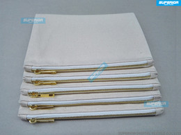 Wholesale Wholesale Pouches - 10pcs lot 7x10 Inches Blank Natural Cotton Cosmetic Bag 12 oz Natural Canvas Zipper Pouch Plain Blank Makeup Bag With 5# Golden Metal Zipper