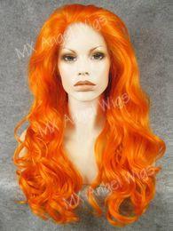 Wholesale Long Wavy Half Wigs - Iwona Hair Wavy Long Orange Wig 7#3200 Half Hand Tied Heat Friendly Synthetic Lace Front Wigs