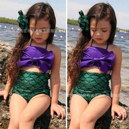 Wholesale Wholesale Bath Suits - Baby Girls Mermaid Sequin Swimwear Children Big Bow Two Piece Swimsuit Bikini Bath suit Beachwear outfit 2-8T Free shipping