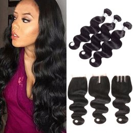 Wholesale Virgin Brazilian Synthetic Hair - Brazilian Body Wave 3 Bundles with Closure Unprocessed Virgin Human Hair Weave Bundles with Lace Closure free middle three part