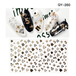 Wholesale Foil Nail Decal Stickers - High Quality Golden Diamond Perfume Nail Sticker Retro Nail Art Water Decals Nail Wraps Transfer Foil Nails Decorations