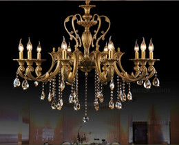 Wholesale Vintage Lustres - Vintage Crystal Chandelier Lighting Fixture For Dining Room Foyer Brass Lustres de Cristal Luxury Pendant Lamp Indoor Lighting
