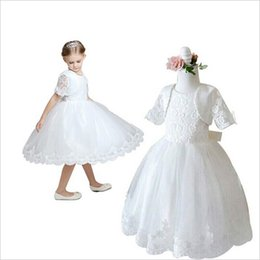 Wholesale Girl Elegant Coats - Elegant Embroidery Rose Lace Flower Girl Dress Pageant Dance Party Ceremony Wedding Sundress with Beads Bow Tie Coat Jacket