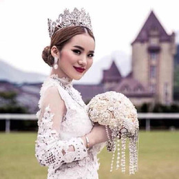 Wholesale Crystal Rhinestone Headpieces - Luxurious Silver Head Jewelry Prom Evening Party Pageant Crystal Hair Accessories For Women Baroque Bridal Tiaras And Crowns Headpieces