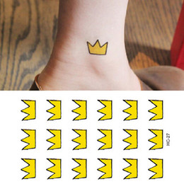 Wholesale Sticker Crown - Sex Products False Temporary Tattoo Sticker Yellow Crown Icon Covering Scars Birthmarks Waterproof Fake Tattoo Decals