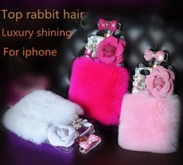 Wholesale Iphone4s Case Tpu - Luxury Rhinestone Bling Sparkling Gems Roses Real Soft Rex Rabbit Hair Fur Plush Case Cover for iphone4S 5S 5C 6 6PLUS 7 7PLUS