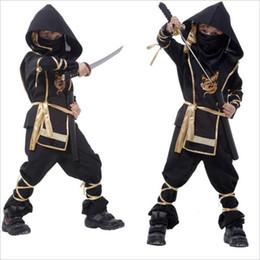 Wholesale Ninja Clothing - Kids Cosplay Clothing Sets Japanese Ninja Warrior Costume Boys Halloween Party Costume Boys Cosplay Clothing Kids Gifts LA494