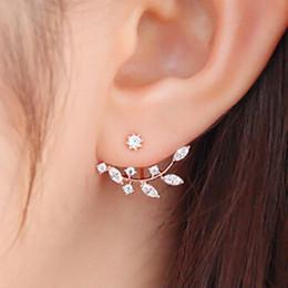 Canada 100% Zircon Coréenne Earing Rose Or Boucle D'oreille Feuilles Boucles D'oreilles De Mode Bijoux Aros Plata Cristal Petite Fleur Boucles D'oreilles Pour Les Femmes Offre