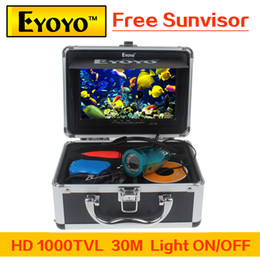 "Wholesale Monitor Fish - Wholesale-Updated Eyoyo HD 1000TVL Underwater Fishing Camera Fish Finder 7"" Color Monitor Light ON OFF Free Sunvisor"