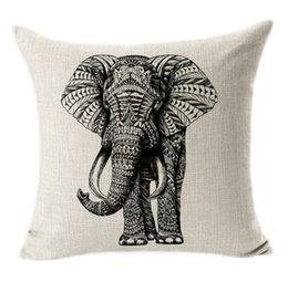 Wholesale Living Room Couches - black and white animal art cotton Pillow Case Cover Square Linen Cotton couch Pillowcase Living room Bedroom sets cushions pillow case