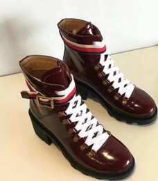 Wholesale Patent Leather Belt Red - 2017 fall winter new Arrivals Fashion Womens black red patent Leather lace up with Striped canvas Belt strap Platform Desert Combat Boots