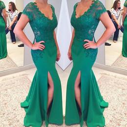 Wholesale Vestidos Largos Lace - 2017 Long Abendkleider Evening Dresses Mermaid with Lace Appliques Illusion Back Prom Party Formal Gowns Cheap Vestidos Largos Para Bodas