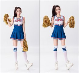 Wholesale Baseball Uniform Wholesale - Hot Baseball Football Cheerleading Glee Costume Aerobics Clothing Uniforms for Performances Sleeveless Dress Size S M L XL XXL WY6939 5pcs