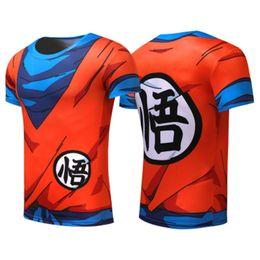 Kukucos Anime Sun Wukong Seven Dragon Ball Calzamaglia sportiva da uomo Anime Leisure Shellfish Abbigliamento fitness Running T-shirt Cosplay ad asciugatura rapida da