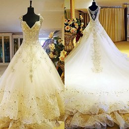 Wholesale Exquisite Beaded Wedding Dress - Luxury 2016 Crystal Bodice Beaded Cathedral Train Wedding Dresses Exquisite Tulle Lace Applique Beading Bridal Gowns Custom Made EN101312