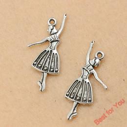 antike silberne ballettcharme Rabatt 100 stücke Antik Silber Ton Nette Tanzen Ballett Mädchen Charms Anhänger Schmuck Diy Schmuckzubehör 32x13mm schmuck machen