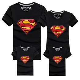 Wholesale Matching Mom Son Outfits - 2016 New Family Look Superman T Shirts Colors Summer Family Matching Clothes Mom & Dad & Son & Daughter Cartoon Outfits