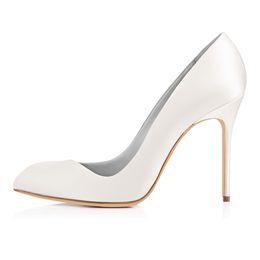 Zapatos formales blancos de las mujeres online-karmran mujeres hechas a mano moda Aorneille estilo 100 MM formal vestido de fiesta de oficina bombas de tacón alto zapatos blanco Z70320
