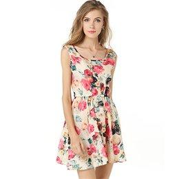 Wholesale Peplum Xxl - 1183 free shipping 2017 summer women new fashion sleeveless chiffon dress ladies flower print plus size slim dresses women's clothing S-XXL