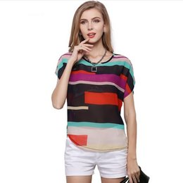 Wholesale Strip Blouse - Womens O-Neck Casual Loose Patchwork Rainbow Stripped Chiffon Blouses tops Shirt Women Blusa Plus Size DK1683LY