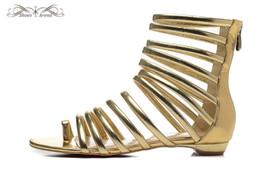 Argentina WBS984A tamaño 34-42 mujeres correa de cuero dorado con cremallera trasera sandalias de tobillo de moda de verano, señoras de lujo marca zapatos de playa de tacón bajo Suministro
