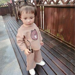 Wholesale Korean Little Baby Girl Dress - Little Girls Boys Fashion Autumn T-shirt+trousers Sets Bear Baby Dress Cotton Korean Design Top Pants Children Clothes 2-5T