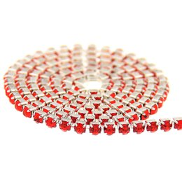 Wholesale Dress Crystal Rhinestones Decoration - Light Siam Glass Rhinestones Silver Base Chains Copper Cup Chain Non Hotfix Crystal Chatons DIY Crafts Wedding Dress Decoration
