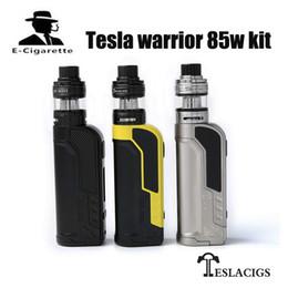 Wholesale Metal Warriors - 100% Original Tesla Warrior 85W Starter kit and box mod Vaporizer teslacigs Warrior 85 Vape mod powered by 18650 battery vapor Hookah