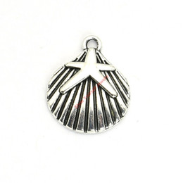 Wholesale Wholesale Shell Crafts - 20pcs Antique Silver Plated Starfish Shell Charms Pendants for Bracelet Jewelry Making DIY Necklace Craft 22x18mm