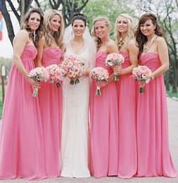 Wholesale Simply Dresses Black - Simply Chiffon Long Bridesmaid Dresses A Line Sweetheart Pleats Sexy Backless Floor Length Western Garden Wedding Party Dresses Cheap