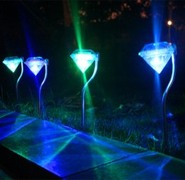 Wholesale Wholesale Diamonds Yard - LED Solar lights Diamond solar power lights RGB color change led solar outdoor christmas lights for garden yard decoration